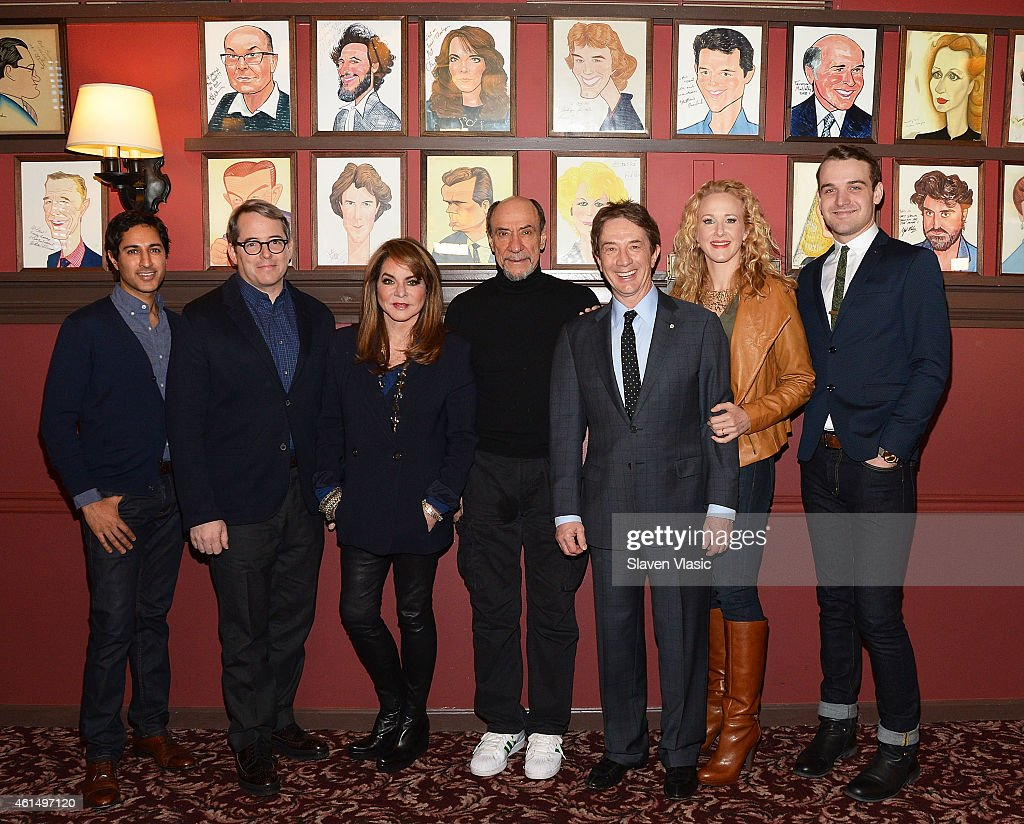 Actors Maulik Pancholy, Matthew Broderick, Stockard Channing, F. Murray Abraham, Martin Short, Katie Finneran and Micah Stock attend Broadway's 'It's Only a Play' cast photo call at Sardi's on January 13, 2015 in New York City.