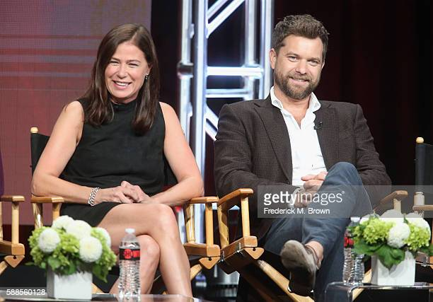 Actors Maura Tierney and Joshua Jackson speak onstage at 'Love Marriage on TV' panel discussion during the Showtime portion of the 2016 Television...