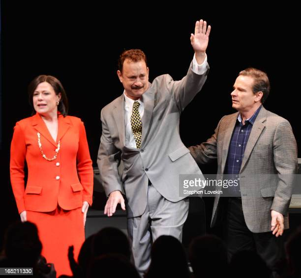 Actors Maura Tierney Tom Hanks and Peter Scolari attend the curtain call for the Lucky Guy Broadway opening night at The Broadhurst Theatre on April...