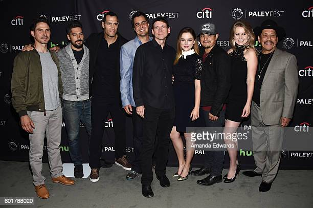 Actors Maurice Compte DJ Cotrona and Marko Zaror executive producer Diego Gutierrez El Rey network President and GM Daniel Tibbets and actors Madison...