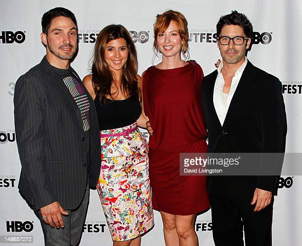 Actors Maurice Compte JamieLynn Sigler Alicia Witt and David W Ross attend the 2012 Outfest screening of 'I Do' at the John Anson Ford Amphitheatre...