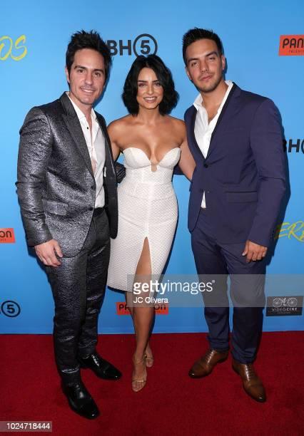 Actors Mauricio Ochmann Aislinn Derbez and Vadhir Derbez attend the premiere of Pantelion Films' 'Ya Veremos' at Regal Cinemas LA LIVE Stadium 14 on...