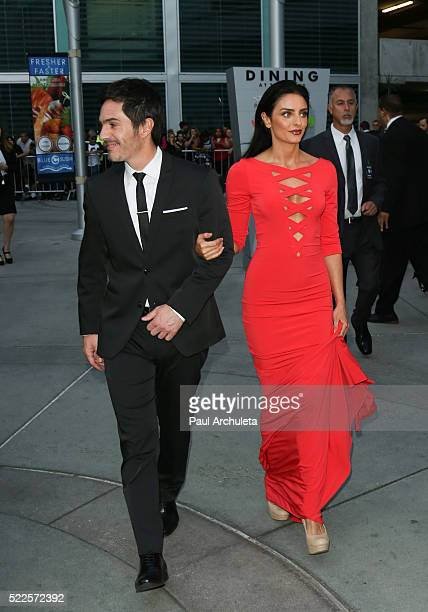 Actors Mauricio Ochmann and Aislinn Derbez attend the premiere of 'Compadres' at ArcLight Hollywood on April 19 2016 in Hollywood California