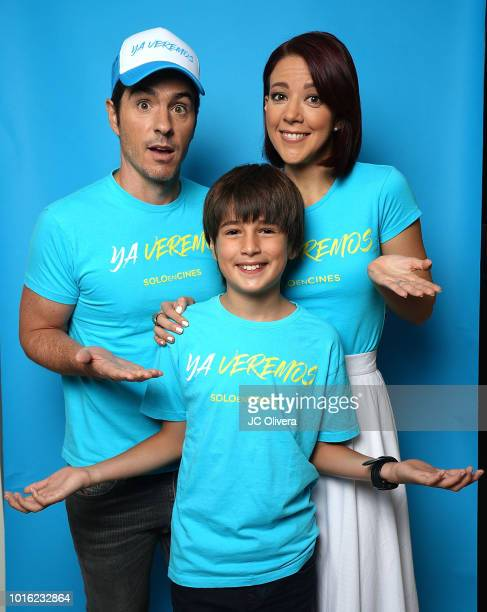 Actors Mauricio Ochmann Emiliano Aramayo and Fernanda Castillo pose for a portrait during the press junket for Pantelion Films' 'Ya Veremos' at Four...