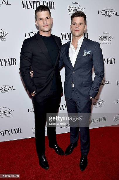 Actors Max Carver and Charlie Carver attend Vanity Fair L'Oreal Paris Hailee Steinfeld host DJ Night at Palihouse Holloway on February 26 2016 in...