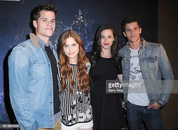 Actors Max Carver Holland Roden Haley Webb and Charlie Carver attend the 20th Century Fox Home Entertainment and MTV Network Teen Wolf fan...