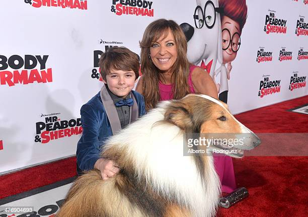"""Actors Max Charles and Allison Janney attend the premiere of Twentieth Century Fox and DreamWorks Animation's """"Mr. Peabody & Sherman"""" at Regency..."""