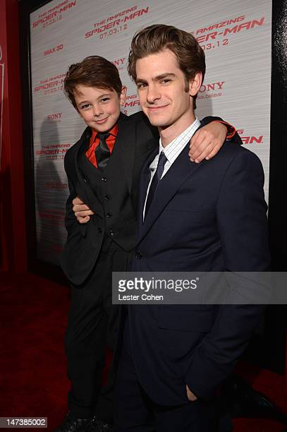 """Actors Max Charles and Andrew Garfield arrive at the Los Angeles premiere of """"The Amazing Spiderman"""" at Regency Village Theatre on June 28, 2012 in..."""