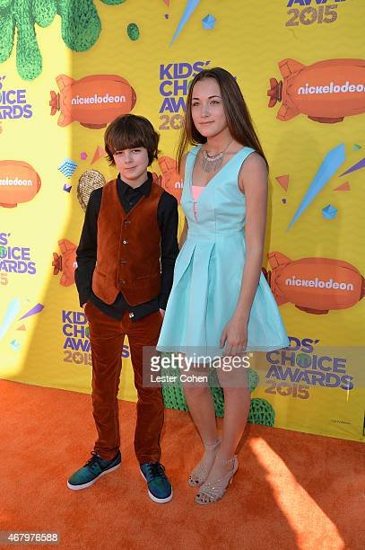 Actors Max Charles and Angelina Wahler attend Nickelodeon's 28th Annual Kids' Choice Awards held at The Forum on March 28 2015 in Inglewood California