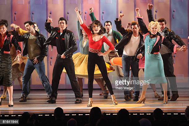 Actors Max Crumm and Laura Osnes and the cast of Grease perform on stage during the 62nd Annual Tony Awards at Radio City Music Hall on June 15 2008...