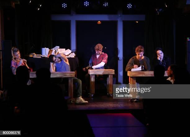 Actors Max Ehrich Jonah Platt Lana McKissack Damon Gravina Anna Grace Barlow and Garrett Clayton perform onstage at The Fuse Project's Presentation...