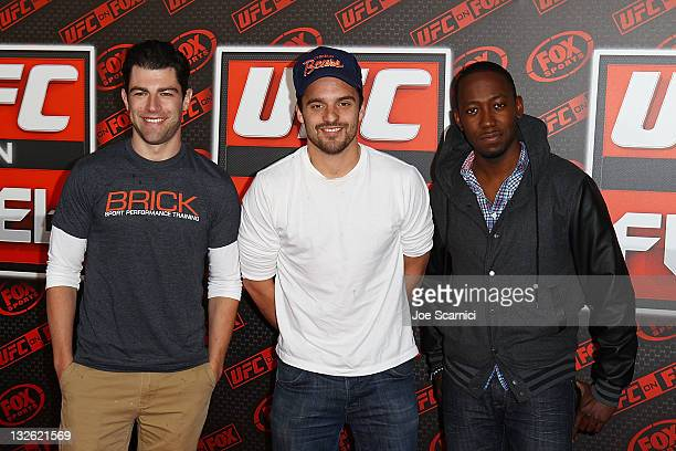 Actors Max Greenfield Jake Johnson and Lamorne Morris arrive at UFC On FOX Live Heavyweight Championship at Honda Center on November 12 2011 in...