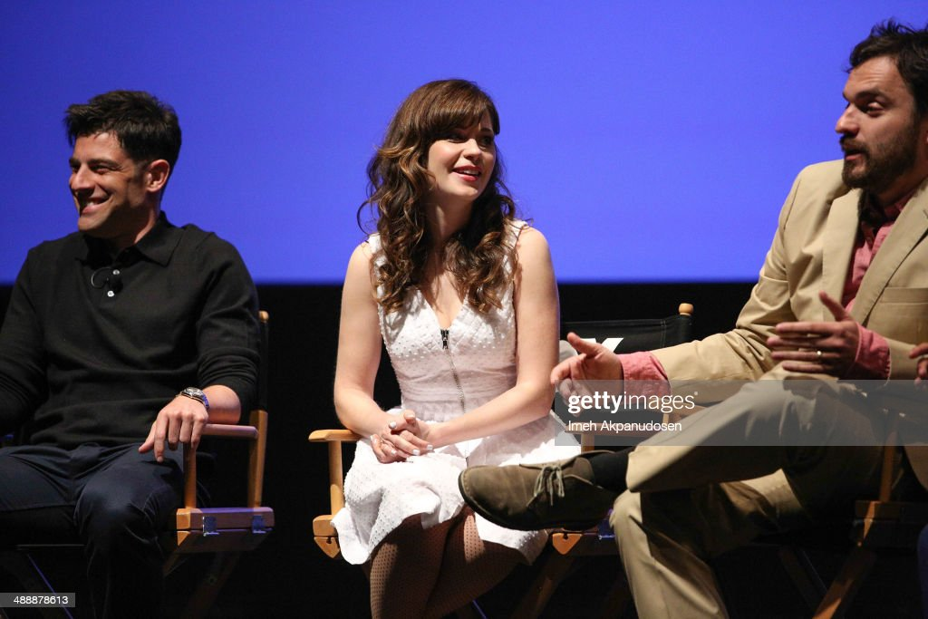 Actors Max Greenfield, Zooey Deschanel, and Jake Johnson speak onstage at the 'New Girl' Season 3 Finale Screening and cast Q&A at Zanuck Theater at 20th Century Fox Lot on May 8, 2014 in Los Angeles, California.