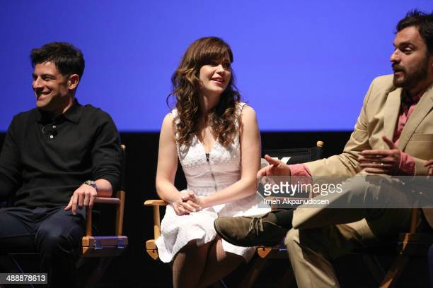 Actors Max Greenfield Zooey Deschanel and Jake Johnson speak onstage at the 'New Girl' Season 3 Finale Screening and cast QA at Zanuck Theater at...