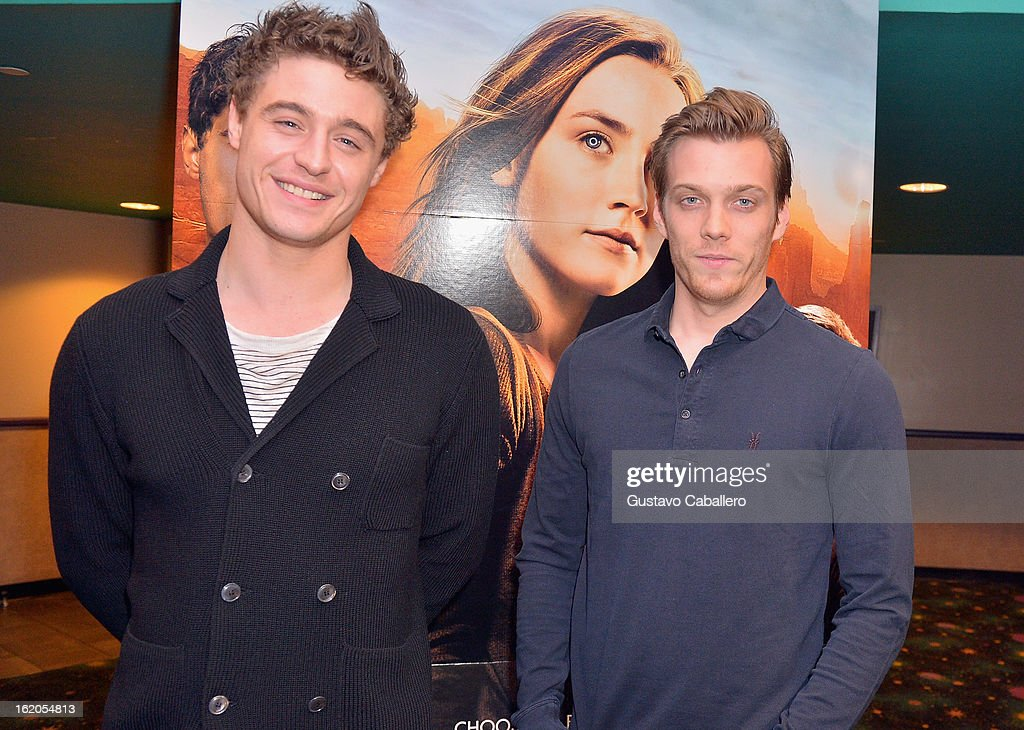 Actors Max Irons and Jake Abel attend 'The Host' Miami Q&A Screening at AMC Sunset Place on February 18, 2013 in Miami, Florida.