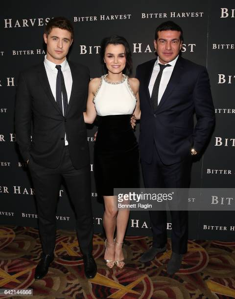 Actors Max Irons Samantha Barks and Tamer Hassan attend the 'Bitter Harvest' New York Premiere at AMC Loews Lincoln Square on February 16 2017 in New...