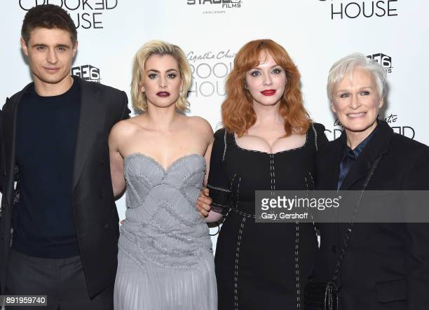 Actors Max Irons Stefanie Martini and Christina Hendricks and Glenn Close attend the 'Crooked House' New York premiere at Metrograph on December 13...