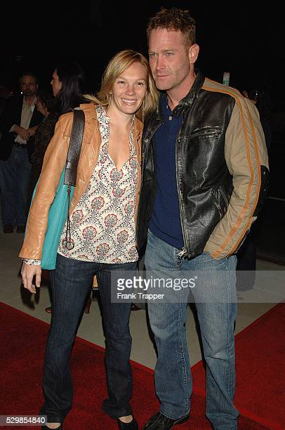 Actors Max Martini and Abby Brammell arrive at the premiere of 'Running With Scissors' held at the Academy of Motion Picture Arts and Sciences in...