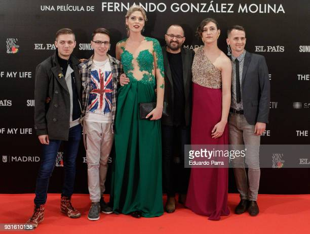 Actors Max Nick Geena director Fernando Conzalez Molina Abril and Timo attend the 'The Best Day of My Life' premiere at Callao cinema on March 13...
