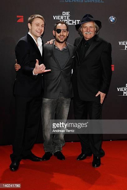 Actors Max Riemelt Moritz Bleibtreu and Rade Serbedzija attend 'Die Vierte Macht' World Premiere at CineStar on March 1 2012 in Berlin Germany