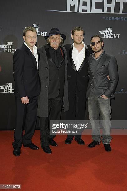 Actors Max Riemelt Rade Serbedzija Moritz Bleibtreu and director Dennis Gansel attend the 'Die Vierte Macht' World Premiere at CineStar Sony Center...