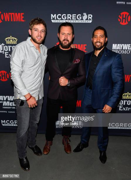 Actors Max Thieriot A J Buckley and Neil Brown Jr attend the Showtime WME IME and Mayweather Promotions VIP PreFight party for Mayweather vs McGregor...
