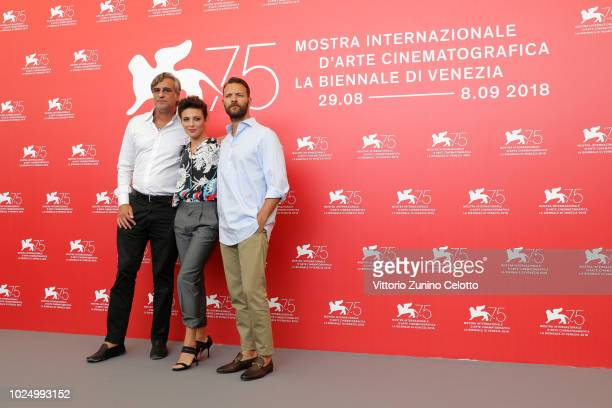 Actors Max Tortora Jasmine Trinca and Alessandro Borghi attend 'Sulla Mia Pelle ' photocall during the 75th Venice Film Festival at Sala Casino on...