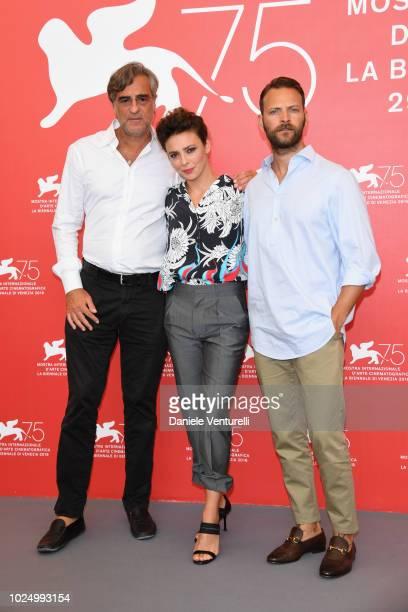 Actors Max Tortora Jasmine Trinca and Alessandro Borghi attend 'Sulla Mia Pelle ' photocall during the 75th Venice Film Festival at Sala Casino on...