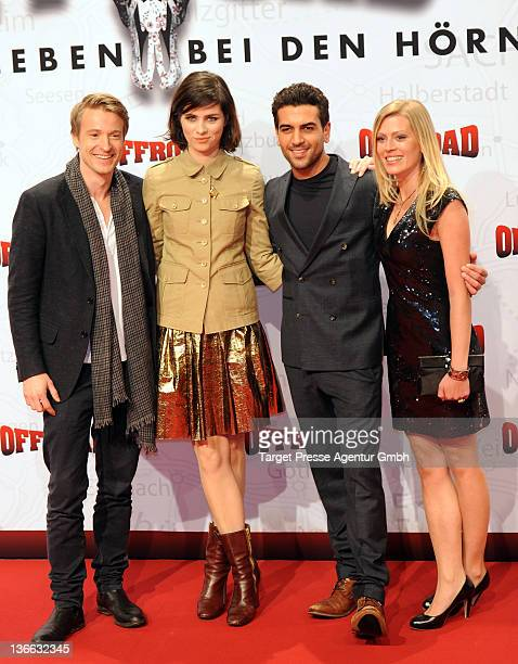 Actors Max von Pufendorf Nora Tschirner Elyas M'Barak and Nele Kiper attend the 'Offroad' Germany Premiere at Kulturbrauerei on January 9 2012 in...