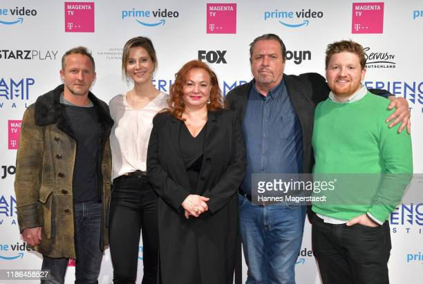 Actors Maximilian Brueckner Katrin Roever Petra Berndt Andreas Giebel and Roland Schreglmann attend the Hindafing Season 2 photo call at HFF Muenchen...
