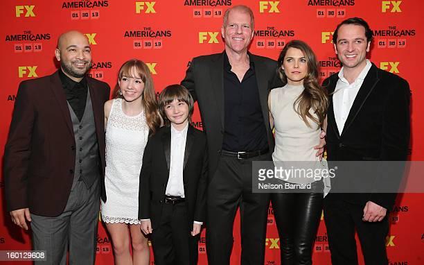 Actors Maximiliano Hernandez Holly Taylor Keidrich Sellati Noah Emmerich Keri Russell and Matthew Rhys attend FX's The Americans Season One New York...
