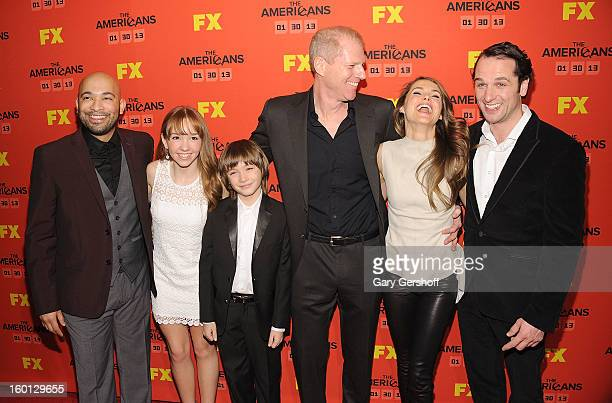 Actors Maximiliano Hernandez Holly Taylor Keidrich Sellati Noah Emmerich Keri Russell and Matthew Rhys attend FX's 'The Americans' Season One New...