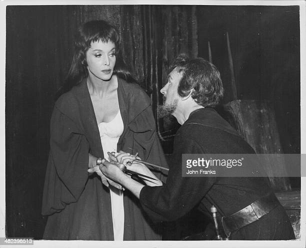 Actors Maxine Audley and Robert Denham rehearsing for the play 'Macbeth' at the Old Vic Theatre London December 18th 1961