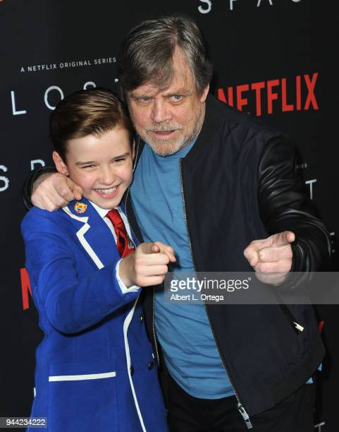 Actors Maxwell Jenkins and Mark Hamill arrive for the Premiere Of Netflix's 'Lost In Space' Season 1 held at The Cinerama Dome on April 9 2018 in Los...