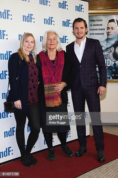 Actors Maya Bothe Hildegard Schmahl and Felix Klare attend the 'Der IslandKrimi Der Tote im Westfjord' premiere at Astor Film Lounge on October 13...