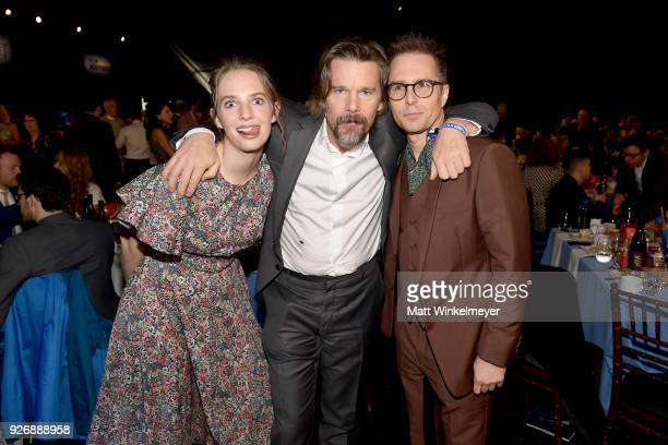Actors Maya Hawke Ethan Hawke and Sam Rockwell during the 2018 Film Independent Spirit Awards on March 3 2018 in Santa Monica California