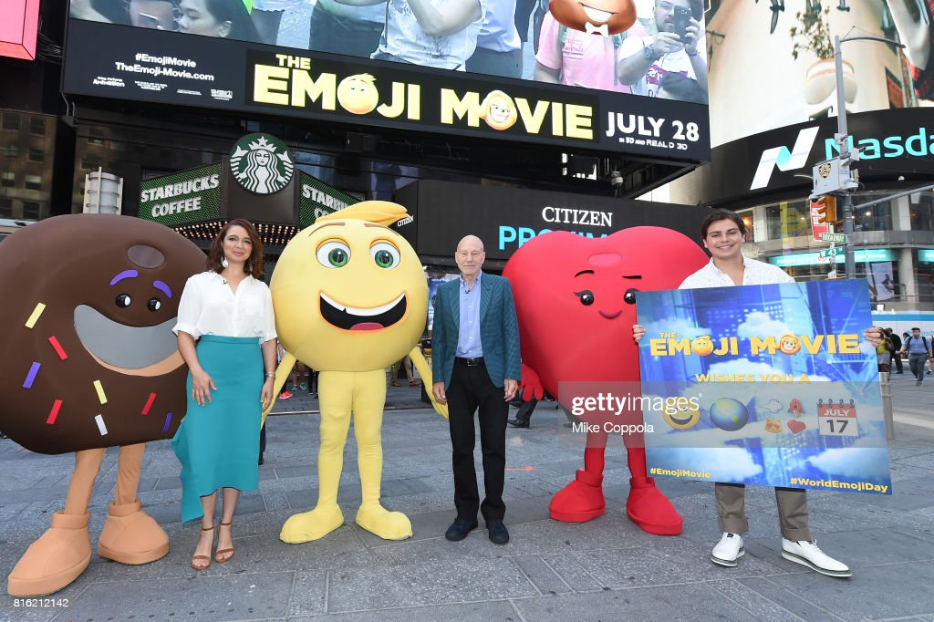 Actors Maya Rudolph, Patrick Stewart and Jake T. Austin of The Emoji Movie Celebrates World Emoji Day On Good Morning America on July 17, 2017 in New York City.