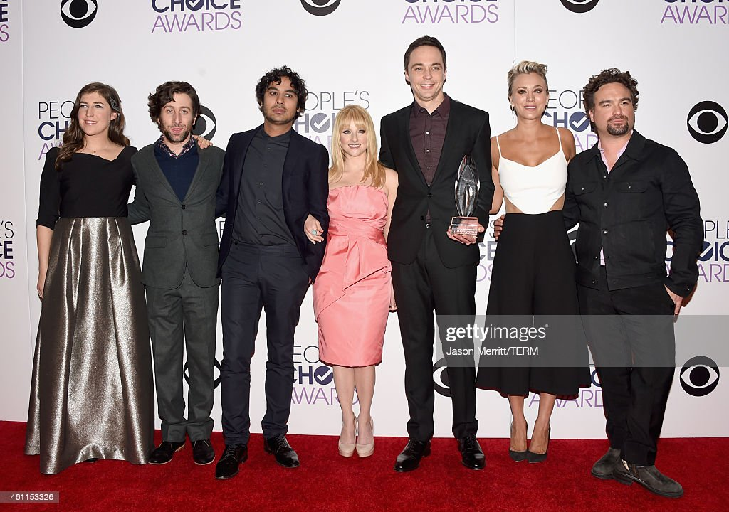Actors Mayim Bialik, Simon Helberg, Kunal Nayyar, Melissa Rauch, Jim Parsons, Kaley Cuoco-Sweeting and Johnny Galecki pose in the press room at The 41st Annual People's Choice Awards at Nokia Theatre LA Live on January 7, 2015 in Los Angeles, California.