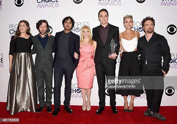Actors Mayim Bialik Simon Helberg Kunal Nayyar Melissa Rauch Jim Parsons Kaley CuocoSweeting and Johnny Galecki pose in the press room at The 41st...