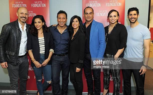 Actors Maz Jobrani Azita Ghanizada Aasif Mandvi Camille Alick Navid Negahban Aline Elasmar attend SAGAFTRA Foundation's The Business Presents Acting...