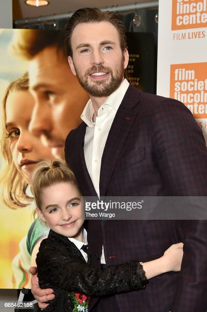 Actors McKenna Grace and Chris Evans attend the Gifted New York Premiere at New York Institute of Technology on April 6 2017 in New York City