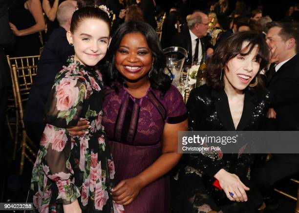 Actors Mckenna Grace Octavia Spencer and Sally Hawkins attend The 23rd Annual Critics' Choice Awards at Barker Hangar on January 11 2018 in Santa...