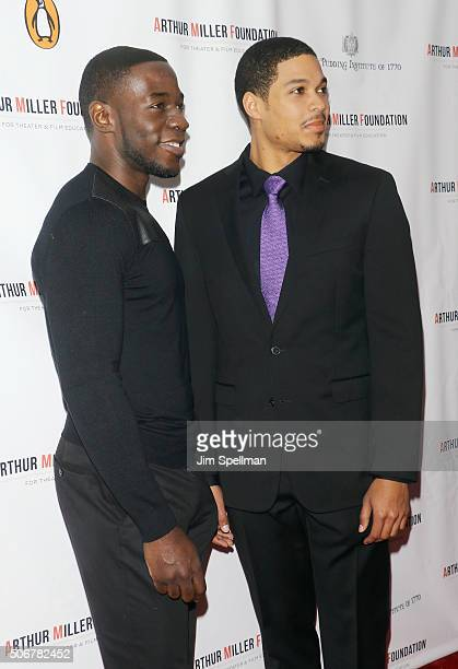 Actors McKinley Belcher III and Ray Fisher attend the Arthur Miller One Night 100 Years Benefit at Lyceum Theatre on January 25 2016 in New York City