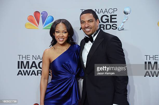 Actors Meagan Good and Laz Alonso pose in the press room during the 44th NAACP Image Awards at The Shrine Auditorium on February 1 2013 in Los...