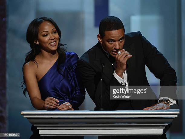 Actors Meagan Good and Laz Alonso speak onstage during the 44th NAACP Image Awards at The Shrine Auditorium on February 1 2013 in Los Angeles...
