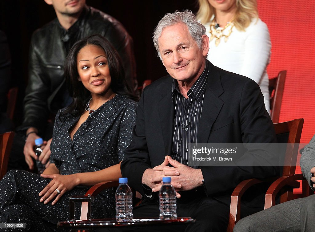 Actors Meagan Good (L) and Victor Garber speak onstage at the 'Deception' panel session during the NBCUniversal portion of the 2013 Winter TCA Tour- Day 3 at the Langham Hotel on January 6, 2013 in Pasadena, California.