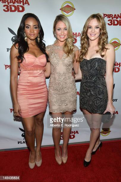 Actors Meagan Tandy Katrina Bowden and Danielle Panabaker arrive to the premiere of Dimension Films' Piranha 3DD at Mann Chinese 6 on May 29 2012 in...