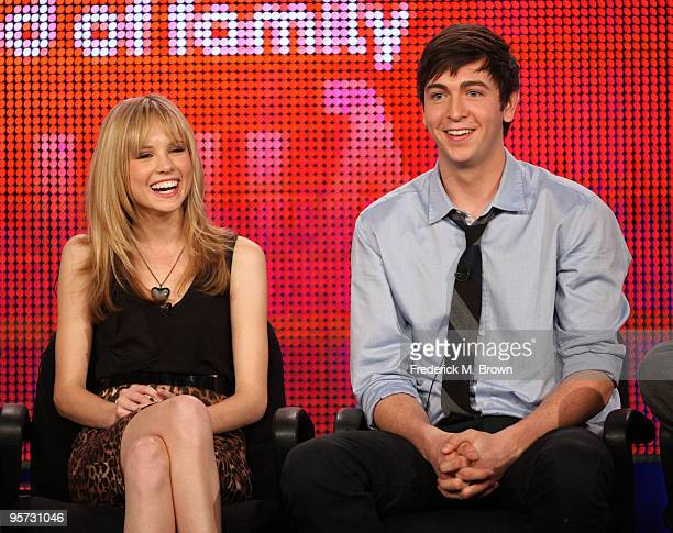 Actors Meaghan Martin and Nicholas Braun speak onstage at the ABC '10 Things I Hate About You' QA portion of the 2010 Winter TCA Tour day 4 at the...