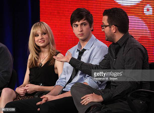 Actors Meaghan Martin Ethan Peck and executive producer Carter Covington speak onstage at the ABC '10 Things I Hate About You' QA portion of the 2010...
