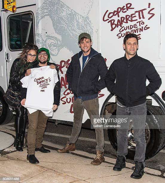 Actors Meaghan Rath Charlie Saxton Jack CutmoreScott and Justin Bartha attend the Cooper Barrett's Guide To Surviving Life Road Trip on February 5...
